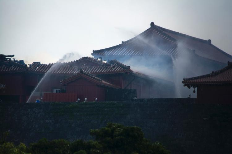 Japanese firefighters work a blaze at Shuri Castle in Naha, Okinawa, Thursday, Oct. 31, 2019. CARLOS VAZQUEZ/STARS AND STRIPES