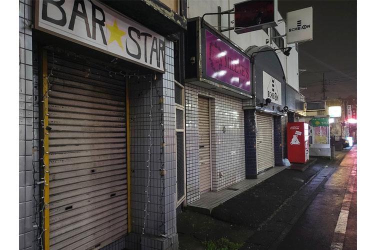 Many establishments were shuttered on the evening of March 31, 2020, at a popular entertainment district known as Bar Row near Yokota Air Base in western Tokyo. THERON GODBOLD/STARS AND STRIPES