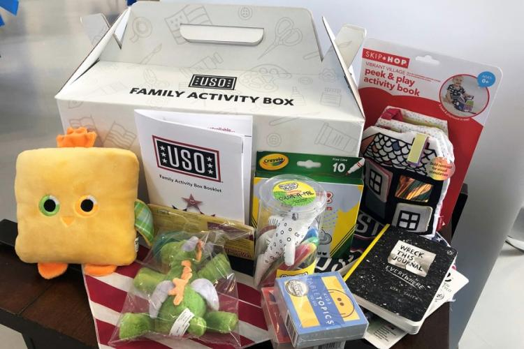 "The USO says its Family Activity Box program ""affords military families a customized and connective experience for both parents and children."" AYA ICHIHASHI/STARS AND STRIPES"