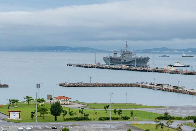 OKINAWA, Japan (May 24, 2020) - U.S. 7th Fleet flagship USS Blue Ridge (LCC 19) arrives in White Beach Naval Facility in Okinawa, Japan. Blue Ridge is the oldest operational ship in the Navy and, as 7th Fleet command ship, actively works to foster relationships with allies and partners in the Indo-Pacific region. (Photo by Mass Communication Specialist 2nd Class Matthew Dickinson)