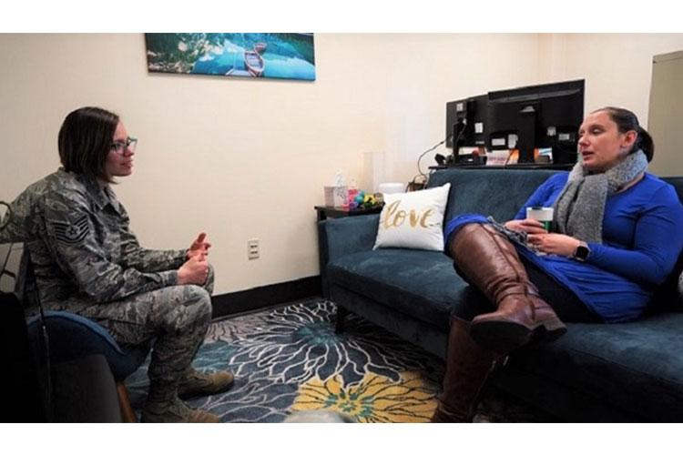Heather Gauthier-Bell, director of Psychological Health at the 142nd Wing, sits down with an airman in her office on Portland Air National Guard Base. Counseling sessions are just one of the many resources provided by the resiliency team to airmen. (pre-COVID-19 image) (Photo by Air National Guardsman Staff Sgt. Alexander Frank, 142nd Wing, Portland, Oregon.)