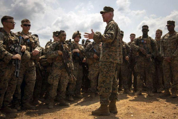 U.S. Marine Corps Lt. Gen. Eric Smith, shown here speaking to troops Feb. 20, 2019, in Thailand, has loosened driving restrictions for III MEF Marines and sailors in Japan. (MARY CALKIN/U.S. ARMY NATIONAL GUARD)