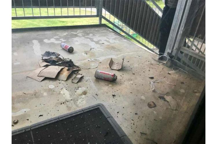 Someone used cassette gas canisters to cause an explosion at Camp Foster, Okinawa, Sunday, March 24, 2019. (OKINAWA DEFENSE BUREAU)