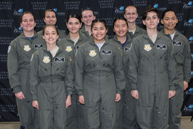 Air Force Junior ROTC cadets attend the annual Women in Aviation conference March 16, 2019, in Long Beach, Calif. The cadets completed the Air Force JROTC Flight Academy program last summer, where they had the opportunity to complete a private pilot's certificate. (U.S. Air Force photo by Senior Airman Alexa Culbert)