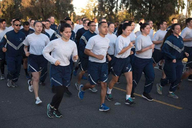 Airmen assigned to the 60th Mission Support Group participate in a group run at Travis Air Force Base, Calif., in September, 2018. (60TH AIR MOBILITY WING)