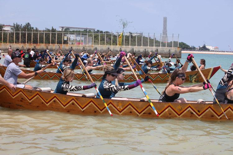 Members of the local and U.S. communities on Okinawa took part in Dragon Boat Races May 12, 2019, in Henoko, Okinawa, Japan. Three American teams made to the women's final and there were waiting for a signal to start the race. (Photo by Ike Hirayasu)