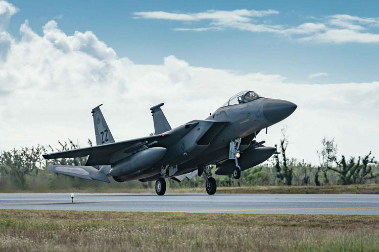 An F-15C Eagle from the 44th Fighter Squadron, Kadena Air Base, Japan, lands at Tinian International Airport, Tinian, during exercise Resilient Typhoon, April 23, 2019. Resilient Typhoon is a dispersal exercise based at Andersen Air Force Base, Guam, designed to validate Pacific Air Force's ability to maintain readiness while adapting to rapidly evolving regional events such as inclement weather. (U.S. Air Force photo by Airman 1st Class Matthew Seefeldt)