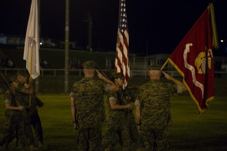Lt. Gen. Eric M. Smith, right, and Lt. Gen. H. Stacy Clardy, III, salute the colors during a pass and review as part of the III Marine Expeditionary Force change of command ceremony at Camp Courtney, Okinawa, Japan, May 31, 2019. Smith passed his duties as the commanding general of III MEF onto Lt. Gen. H. Stacy Clardy, III. Smith said the U.S.-Japan alliance is fortunate to have a veteran of Japan come back as the commanding general. (U.S. Marine Corps photo by Pfc. Francesca de la Reza)