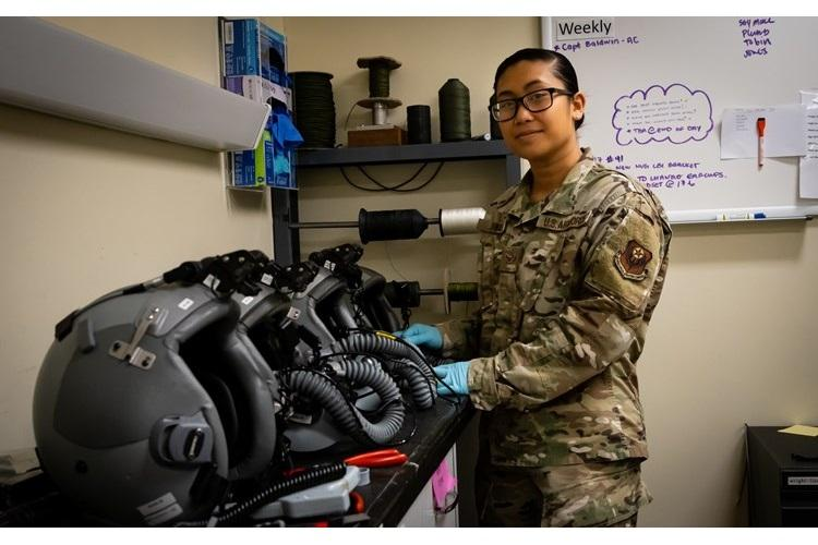Airman 1st Class Samira Trimas, Aircrew Flight Equipment technician assigned to the 353rd Special Operations Support Squadron, poses for a photo on Kadena Air Base, June 25, 2019. Trimas volunteered more than 500 hours to group and wing-level designated driver programs and was nominated for the Military Outstanding Volunteer Service Medal. (U.S. Air Force photo by Staff Sgt. Benjamin Raughton)