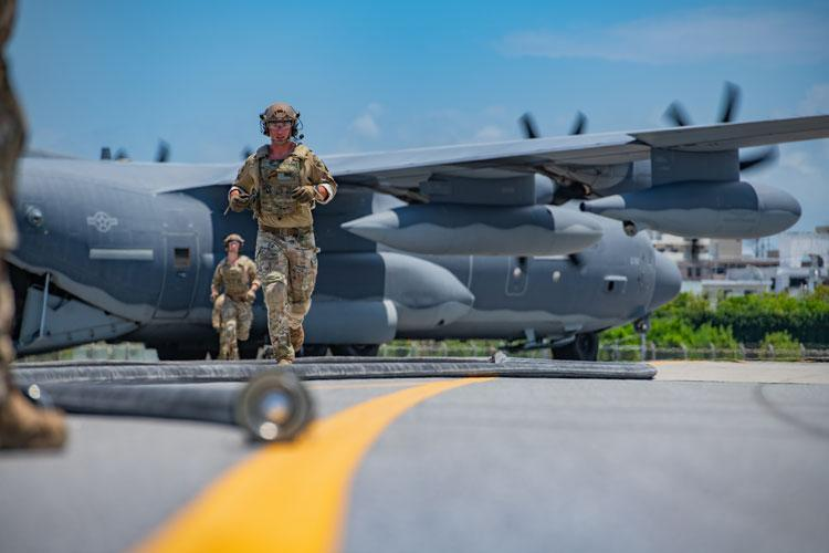 Forward area refueling point Airmen from the 353rd Special Operations Group prepare an MC-130J Commando II for FARP operations during Exercise Westpac Rumrunner, July 31, 2020, at Kadena Air Base, Japan. The FARP mission supports contingency and exercise operations to refuel aircraft and equipment in austere locations where typical air-to-air refueling or established refueling stations are not available. (U.S. Air Force photo by Tech. Sgt. Micaiah Anthony)