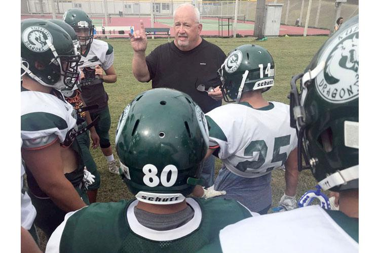 Fred Bales begins his 15th season at the Kubasaki Dragons' helm. And it could be his last, after 42 seasons of coaching, 32 as a head man dating back to his days at Balboa High School in Panama in the 1980s. (DAVE ORNAUER/STARS AND STRIPES)