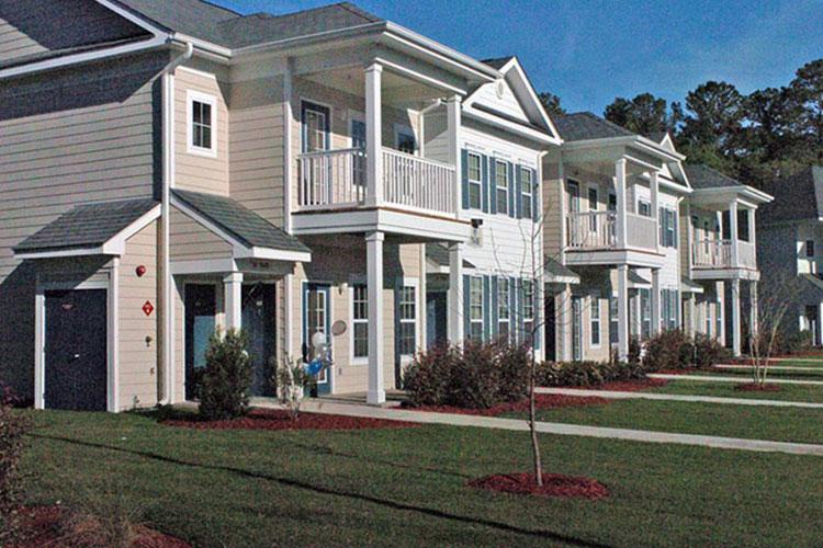 More than 86,000 residents live in privatized on-base housing, such as these houses at Fort Stewart, Ga. (U.S. ARMY)