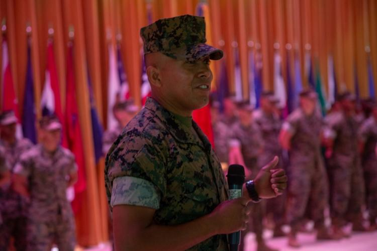 Newly appointed sergeant major of 4th Marine Regiment, Sgt. Maj. Luis M. Leiva, gives remarks, during a relief and appointment ceremony at Camp Schwab, Okinawa, Japan, Aug. 16, 2019. During the ceremony, Leiva transferred leadership to Sgt. Maj. Jose H. Molina, who was selected as the new 4th Marine Regiment sergeant major. (U.S. Marine Corps photo by Lance Cpl. D'Angelo Yanez)