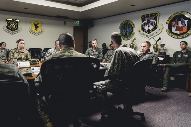 U.S. Air Force Lt. Gen. Kevin Schneider, U.S. Forces Japan and Fifth Air Force commander, and Brig. Gen. Case Cunningham, 18th Wing Commander, listen to mission briefings from the 18th Civil Engineer Group and 18th Mission Support Group April 4, 2019, at Kadena Air Base, Japan. Schneider met with commanders from the 18th CEG and 18th MSG to assess the living conditions and support for service members and their families. (U.S. Air Force photo by Staff Sgt. Omari Bernard)