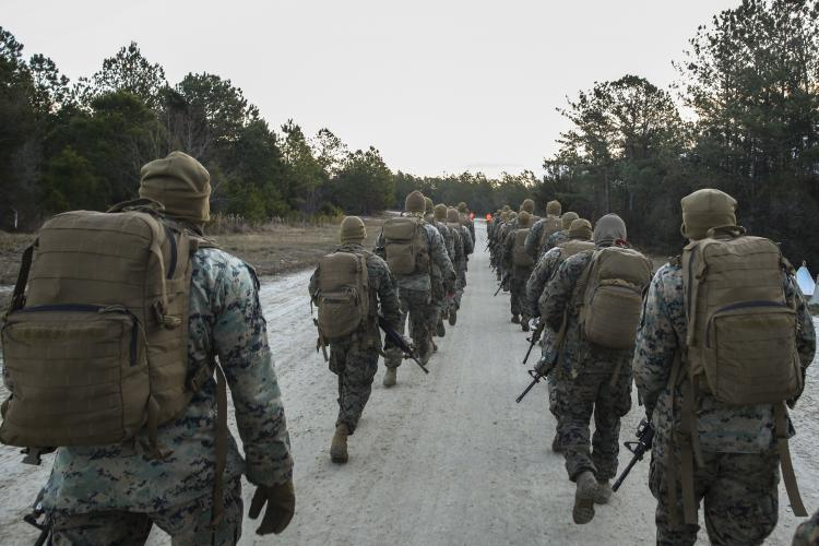 U.S. Marines conduct a six-mile hike during cold weather familiarization training at Camp Lejeune, N.C., Jan. 22.