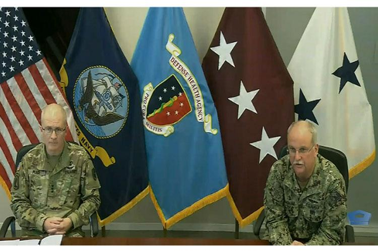 Lt. Gen. Ronald Place, director of the Defense Health Agency, and Rear Adm. Bruce Gillingham, surgeon general of the Navy, discuss plans for additional COVID-19 response efforts with the Pentagon Press Corps.