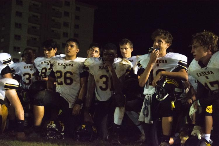 Players from the Kadena Panthers gather after the defeating the Kubasaki Dragons in the first football game of the season at Mike Petty Stadium on Camp Foster, Okinawa, Japan, Saturday, Sept. 7, 2019. CARLOS M. VAZQUEZ II/STARS AND STRIPES