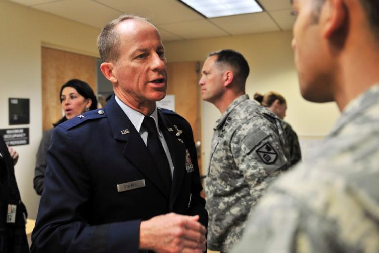 Then-Air Force Brig. Gen. David Stilwell offers advice to a newly minted foreign area officer during a conference at the Defense Language Institute Foreign Language Center in Monterey, Calif., Jan. 14, 2014. NATELA CUTTER/U.S. ARMY