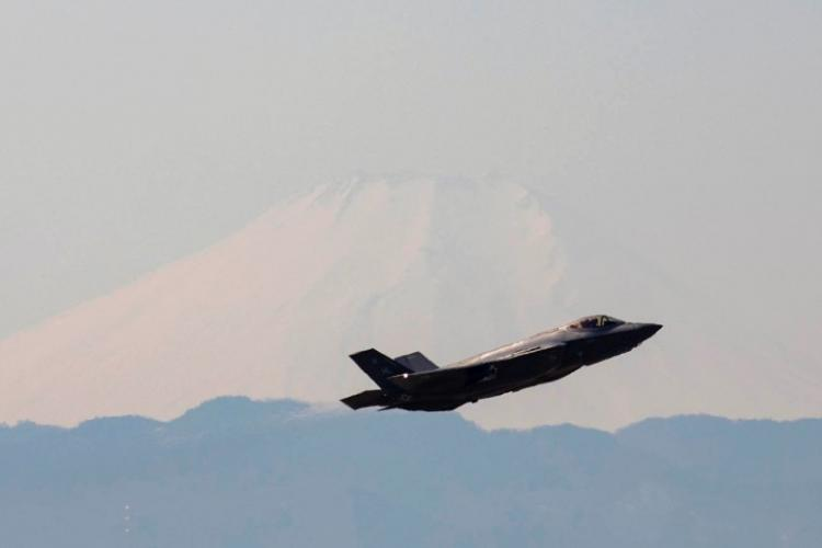 With Mount Fuji in the background, an Air Force F-35A Lightning II assigned to the 34th Fighter Squadron takes off at Yokota Air Base, Japan, Feb. 9, 2018.  YASUO OSAKABE/U.S. AIR FORCE