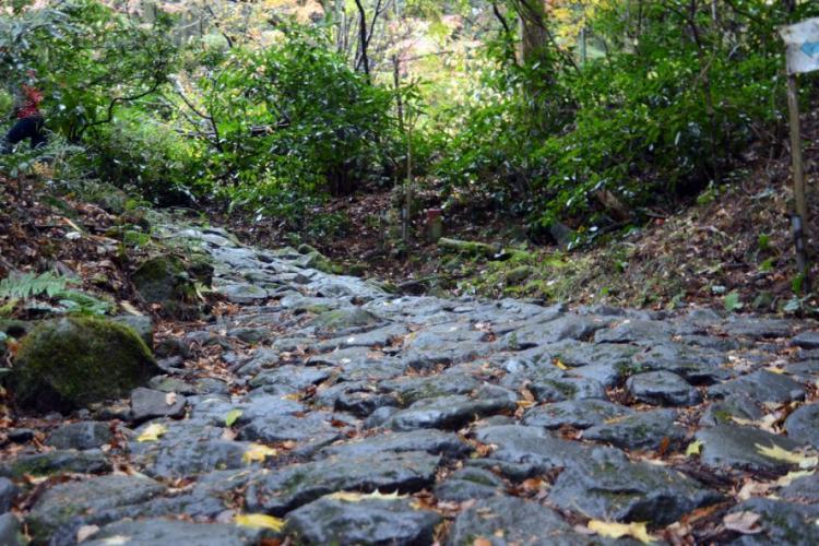 Portions of the original stone-paved path that formed the Old Tokaido Road still exist today. HANA KUSUMOTO/STARS AND STRIPES