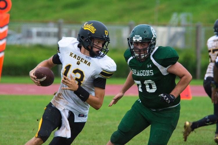 Jack Carey, quarterback for the Kadena Panthers, runs the ball during a game against the Kubasaki Dragons at Mike Petty Stadium on Camp Foster, Okinawa, Japan, Saturday, Sept. 7, 2019. CARLOS M. VAZQUEZ II/STARS AND STRIPES