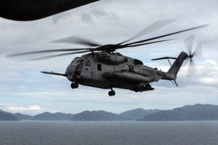 A CH-53E Super Stallion from Marine Heavy Helicopter Squadron 462 at Marine Corps Air Station Futenma trains over Okinawa, June 7, 2019. LEO AMARO/U.S. MARINE CORPS