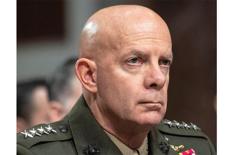 U.S. Marine Corps Commandant Gen. David H. Berger, at a Senate hearing in December, 2019. STARS AND STRIPES