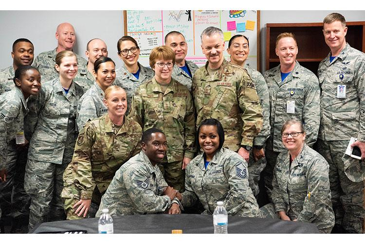 U.S. Air Force Lt. Gen. Dorothy A. Hogg, Air Force Surgeon General, and Chief Master Sgt. G. Steve Cum, Chief, Medical Enlisted Force and Enlisted Corps Chief, pose for a photo during their tour of the 18th Medical Group at Kadena Air Base, Okinawa, Japan, Jan. 25, 2019. (U.S. Air Force photo by Senior Airman Michael Jones)