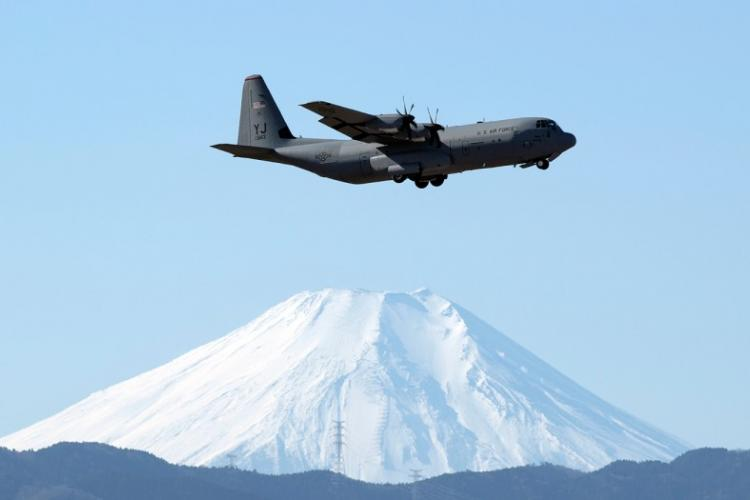 A C-130J Super Hercules from the 36th Airlift Squadron trains over Yokota Air Base in western Tokyo, Jan. 8, 2019. YASUO OSAKABE/U.S. AIR FORCE
